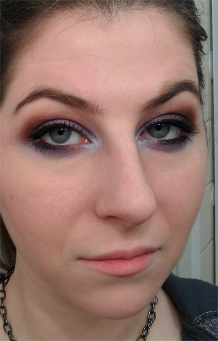 brown and lavendar smoky eye
