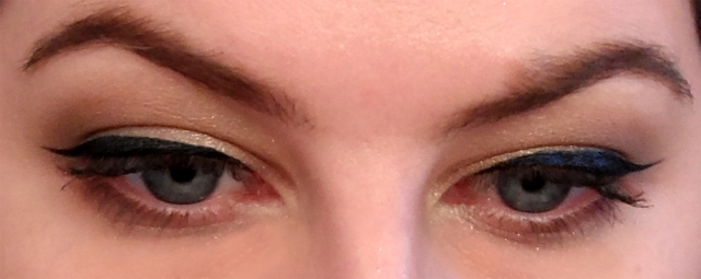 closeup winged sixties cat eye liner