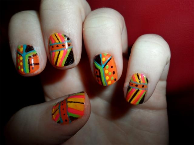 neon tribal manicure