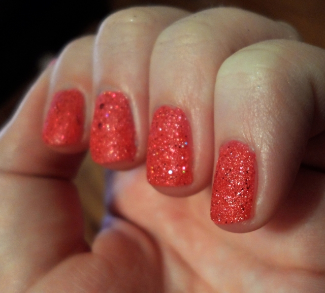 opi pink matte glitter nail polish