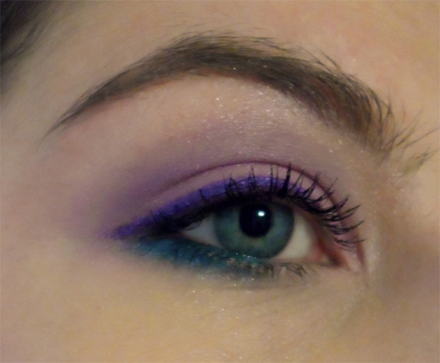 pink eyeshadow purple emerald green eyeliner
