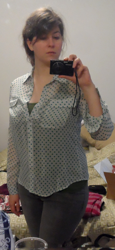 old navy sheer dot button up