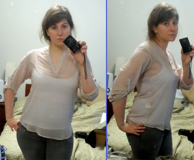 stitch fix review sheer red dot print