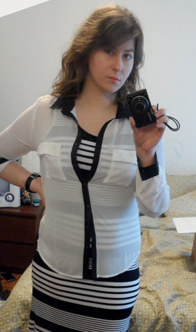 stitch fix review striped maxi dress white contrast trim blouse