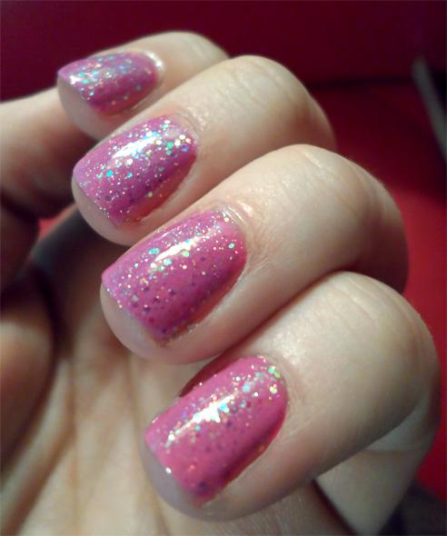 blue glitter pink holo nails