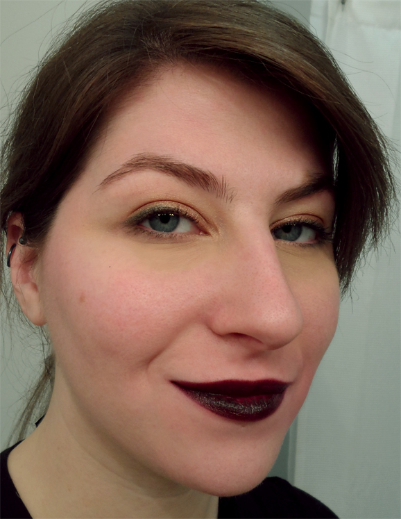 nyx round lipstick bruised almost black dark plum berry goth lip swatch
