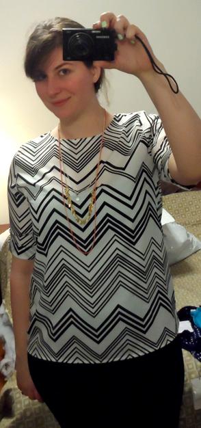 Adina Short Sleeve Zigzag Blouse by Everly