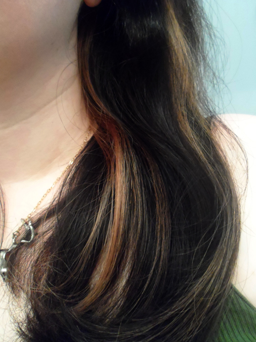 black dark brown brunette hair rose gold highlights