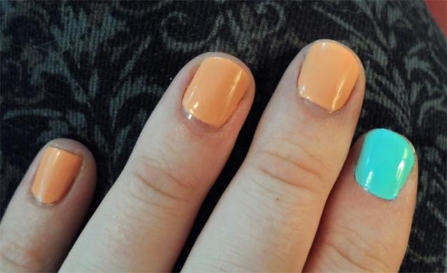hashtag freshmaker blue orange pastel jenna hipp nail polish