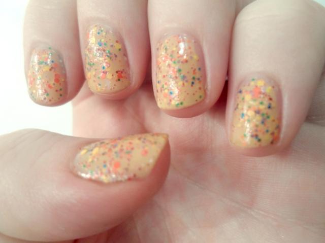 Mod Laquer Salida Del Sol nail polish yellow rainbow glitter