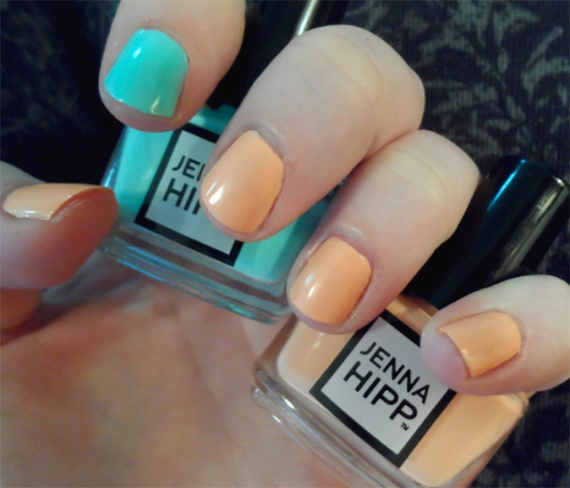 pastel creamy orange mint tiffany blue nail polish jenna hipp costco
