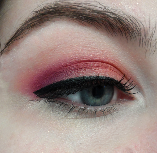 plum purple magenta fuschia tropical mango orange eyeshadow black liquid liner cat eye