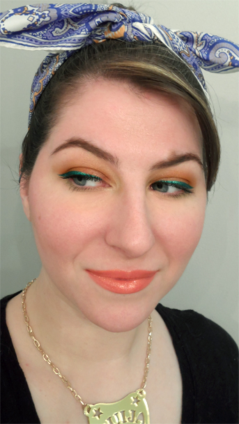 retro citrus orange eyeshadow lagoon emerald green sparkly liquid liner cat eye