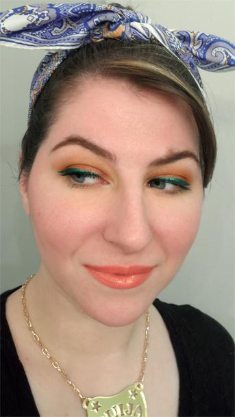 retro citrus orange eyeshadow lagoon emerald green sparkly liquid liner cat eye