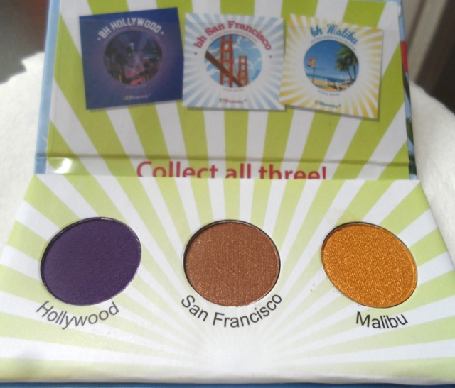 bh cosmetics california palette sample hollywood san francisco malibu eye shadow