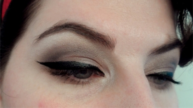 thick black liquid eyeliner 60s cut crease cat eyes