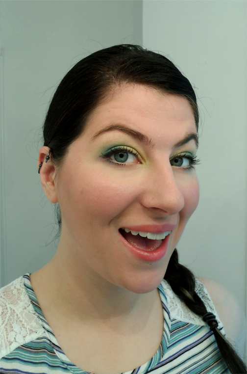 aqua green yellow gold eyeshadow bh cosmetics 120 palette vol 2 mermaid eye makeup pink butterfly ball lipstick smitten