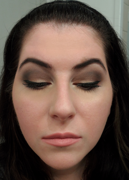 dark neutral smoky eye winged eyeliner nude lipstick lips goth makeup
