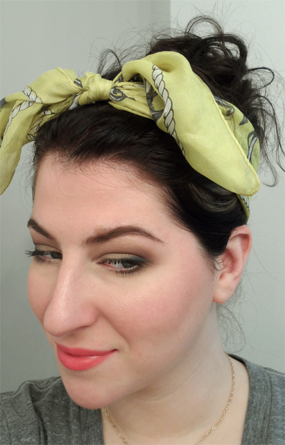 rockabilly retro pink lips lipstick yellow headscarf messy updo modern vintage neutral smoky eye