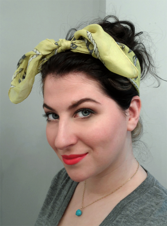 rockabilly retro red lips lipstick yellow headscarf messy updo