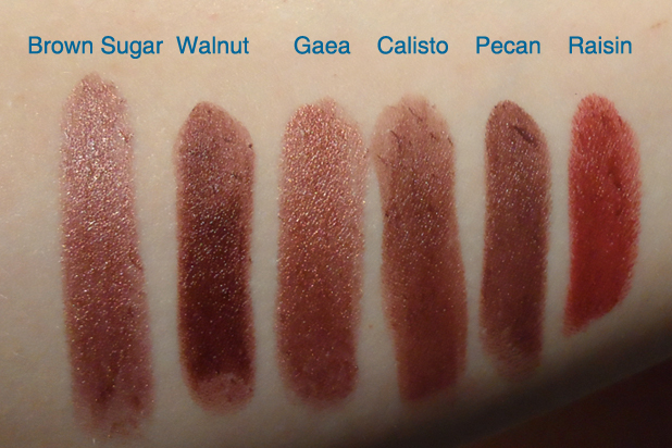 nyx round case lipstick swatches Brown Sugar Walnut Gaea Calisto Pecan Raisin