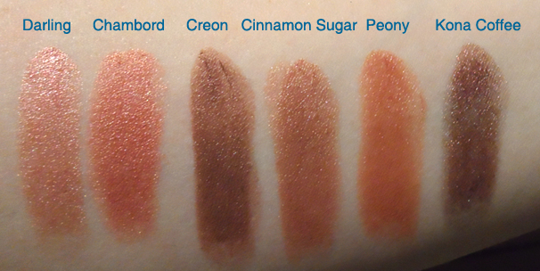 nyx round case lipstick swatches Darling Chambord Creon Cinnamon Sugar Peony Kona Coffee