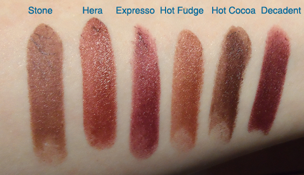 nyx round case lipstick swatches Stone Hera Expresso Hot Fudge Hot Cocoa Decadent
