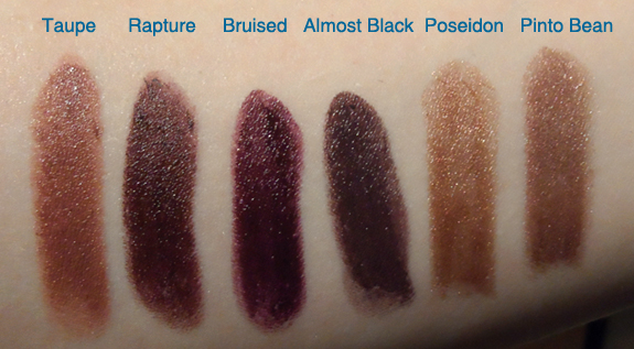 nyx round case lipstick swatches Taupe Rapture Bruised Almost Black Poseidon Pinto Bean