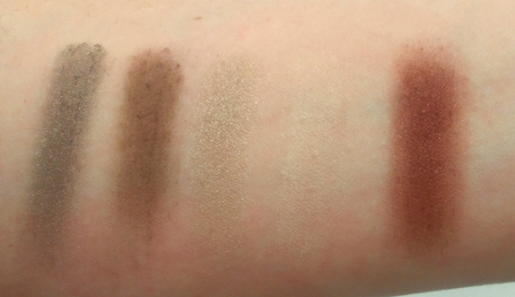 Buxom Color Choreography Eyeshadow Palette in Tango swatched fair pale skin