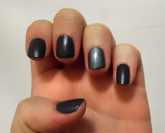 matte metallic grey manicure gray nail polish nailtini caviar cocktail cult cosmetics boneyard modern matte topcoat
