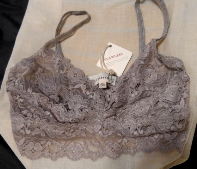 flawless taupe gray lace bralette