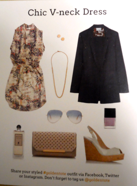 golden tote chic v neck dress styling card