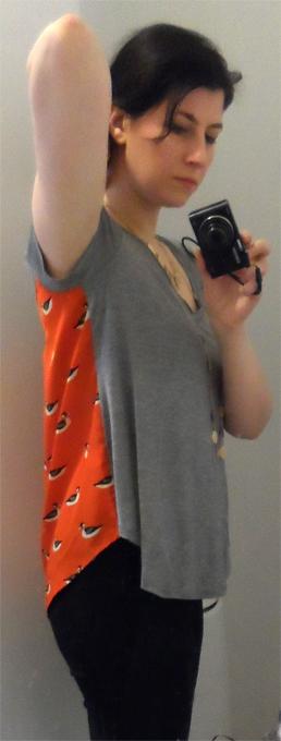 porridge duck print orange and grey shirt
