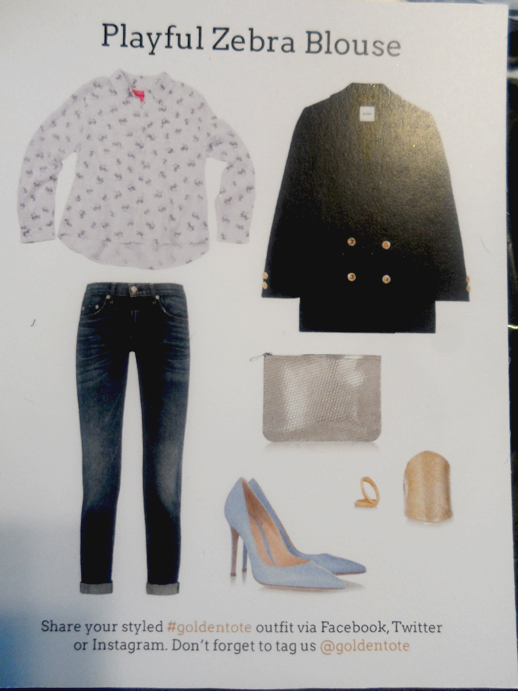 beautifully playful zebra print blouse styling card golden tote april 2014
