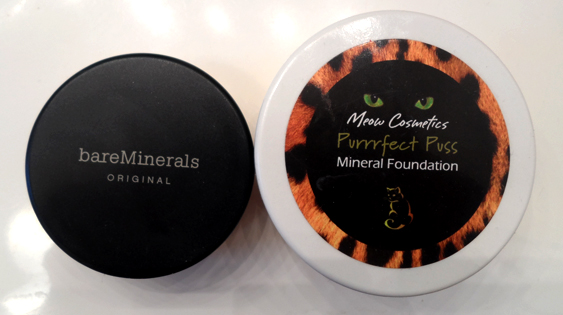 meow cosmetics purrrfect puss mineral foundation vs bare escentuals product amount