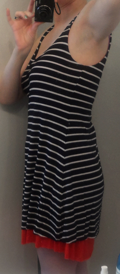 priddy by puella striped contrast trim tank dress in navy and red