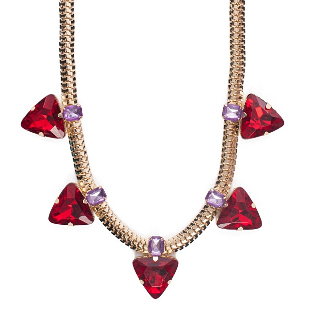 Punch Red Triangle Stone Necklace MSRP $14