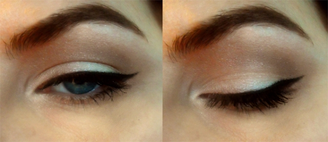 retro neutral cut crease eyes with winged eyeliner