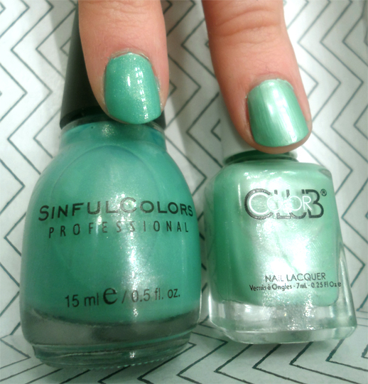 sinful colors mint apple color club breakfast at turqouise seafoam green nail polish swatches