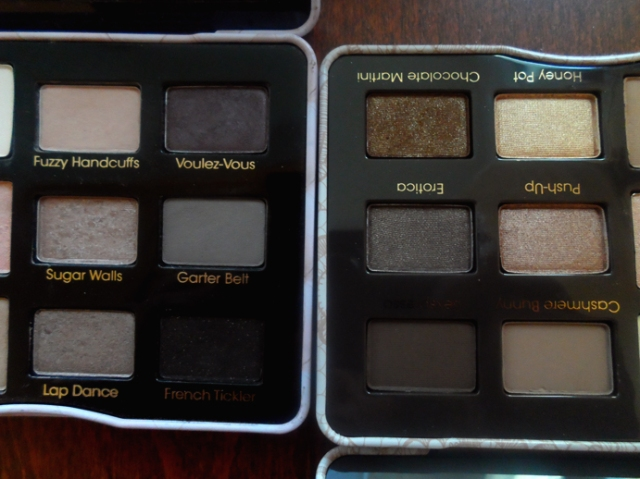 too faced natural eye palette vs boudoir eyes palettes shade comparison