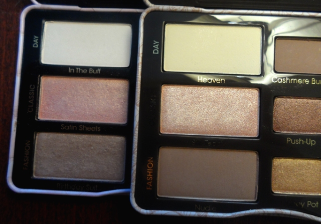 too faced natural eyes palette vs boudoir eye shadow palette nude shades