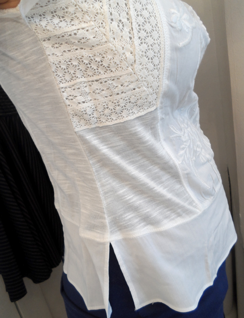 in clover white embroidered peasant top side