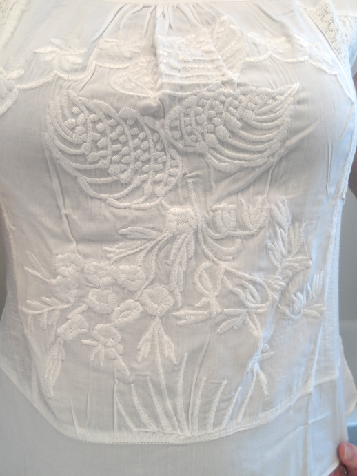 in clover white embroidered peasant top