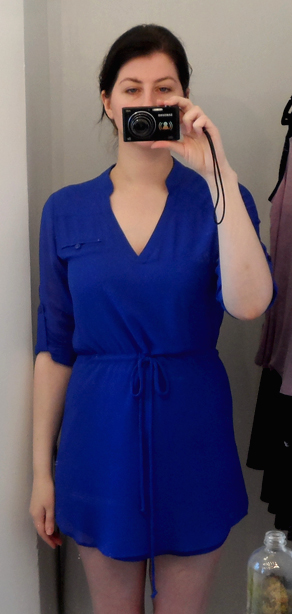 naked zebra cobalt blue crepe cinched waist shirt dress