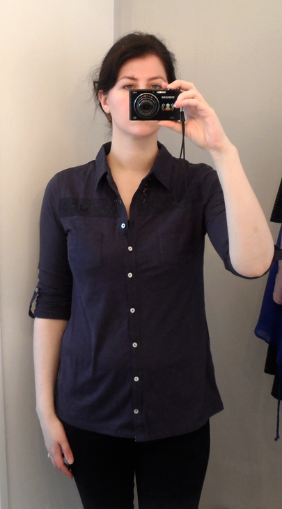 under skies navy eyelet button down shirt