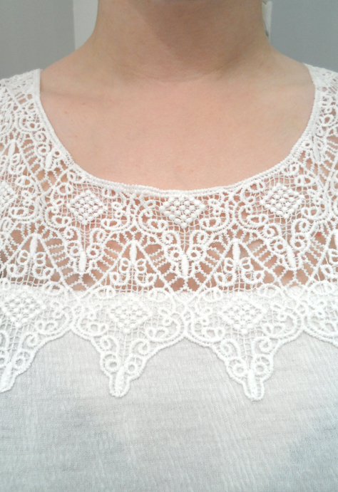 white crochet lace trim miss love tank june golden tote