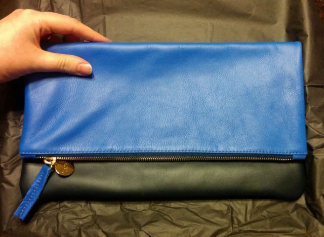 Clare V  Supreme Colorblock Fold-Over Clutch Bag size
