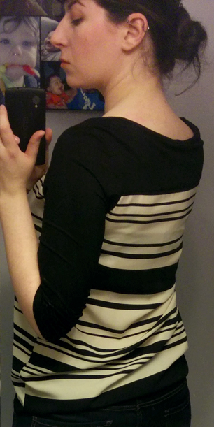 Le Lis Black and Ivory Striped Top back