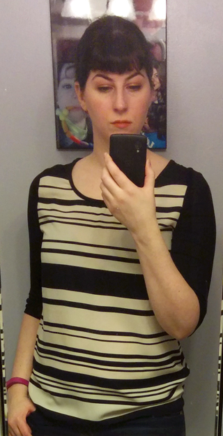Le Lis Black and Ivory Striped Top