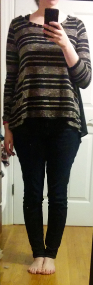 le lis brown striped sweater black back